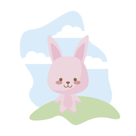cute rabbit animal in landscape vector illustration design