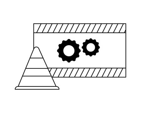cone and signaling with gears vector illustration design Ilustração