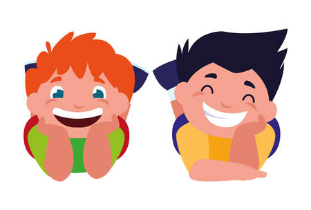 happy little boys characters vector illustration design