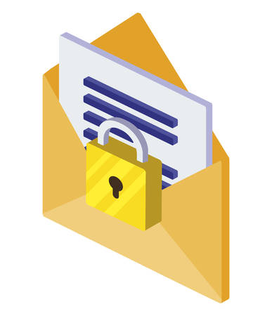 envelope mail with padlock vector illustration design