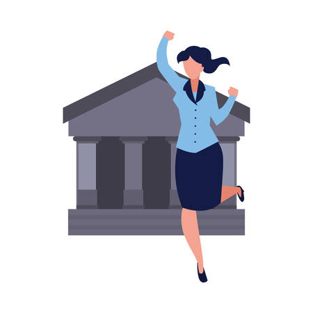 successful businesswoman bank business vector illustration design