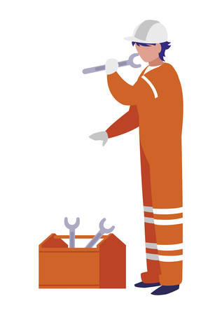 industrial worker with toolbox avatar character vector illustration design 向量圖像
