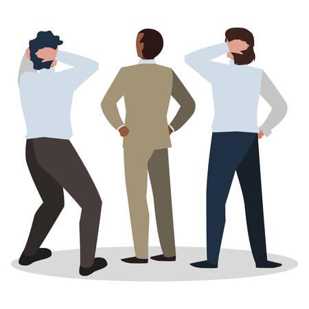 elegant businessmen with back position characters vector illustration design