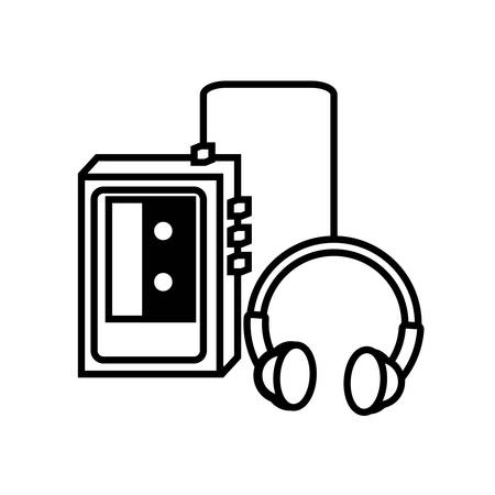 classic music electronic with headphones of nineties retro vector illustration design