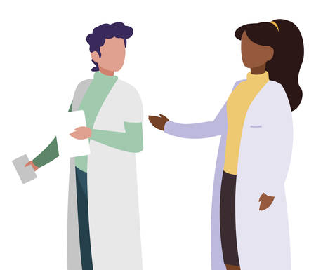 couple doctors professionals characters vector illustration design