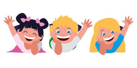 happy little kids characters vector illustration design