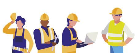 groep mannen bouwers die vectorillustratieontwerp werken