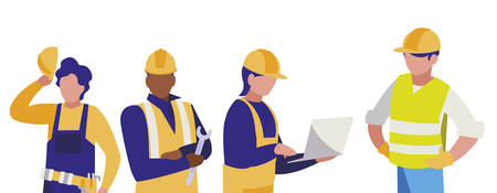Groupe d'hommes constructeurs travaillant la conception d'illustration vectorielle