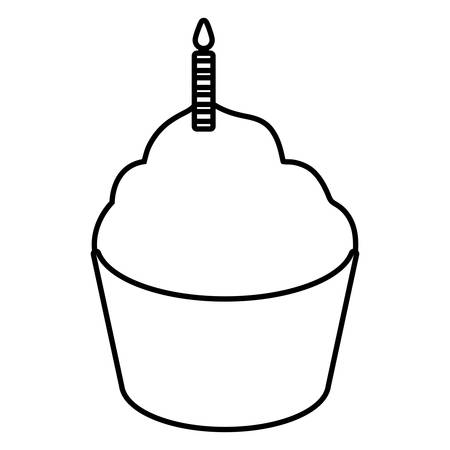 sweet cupcake with candle vector illustration design Çizim