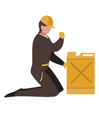 industrial worker with fuel tank vector illustration design
