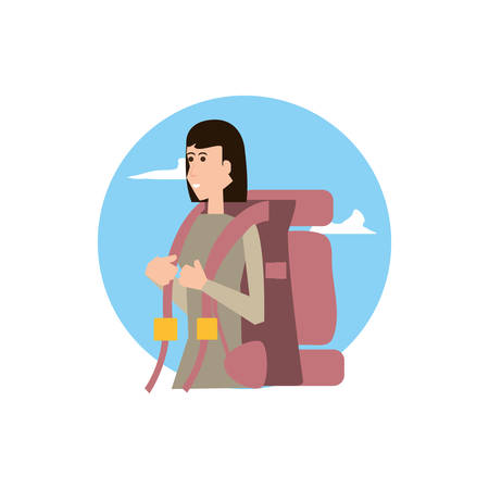 traveler woman with travel bag and sky vector illustration design