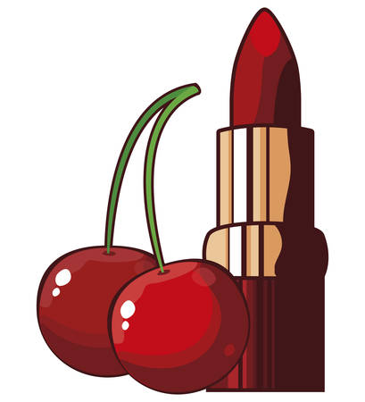 lipstick makeup and cherry pop art style vector illustration design