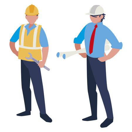 couple of men builders working vector illustration design