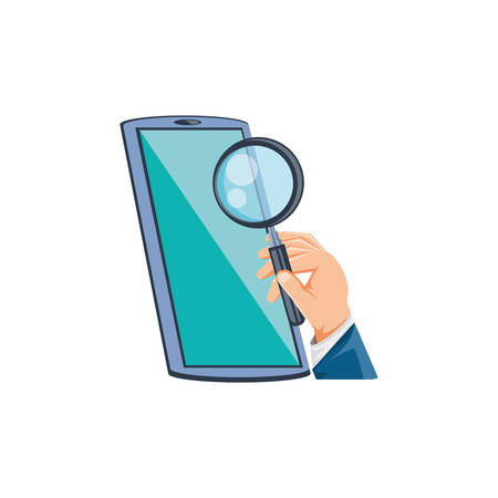 smartphone with ahnd and magnifying glass vector illustration design