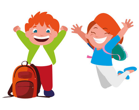 happy little school kids characters vector illustration design Illusztráció