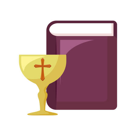 chalice sacred with holy bible vector illustration design