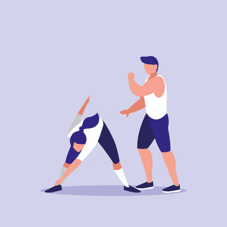 young couple performing exercise icon vector illustration design 矢量图像