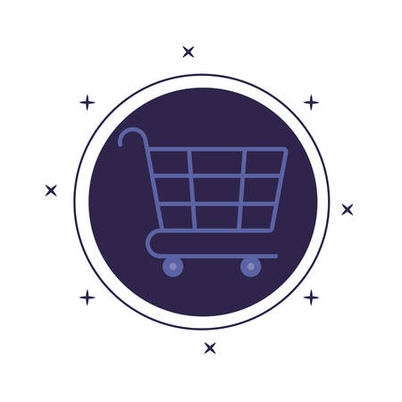 shopping cart in frame circular isolated icon vector illustration design Ilustração