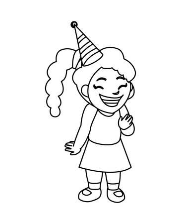 cute happy girl with birthday hat vector illustration design