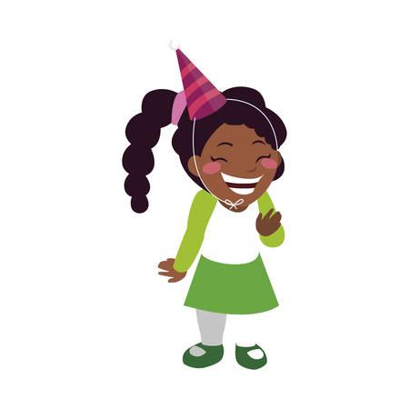 cute happy black girl with birthday hat vector illustration design Vetores