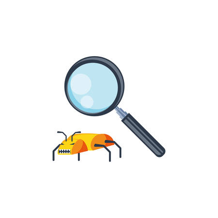insect virus attack with magnifying glass vector illustration design 矢量图像