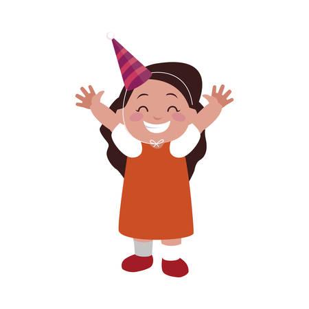cute happy girl with birthday hat vector illustration design Vettoriali