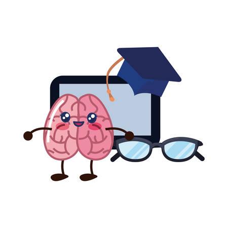brain cartoon tablet education graduation hat eyeglasses vector illustration
