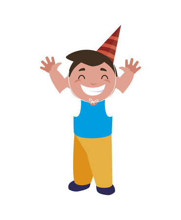 cute happy boy with birthday hat vector illustration design