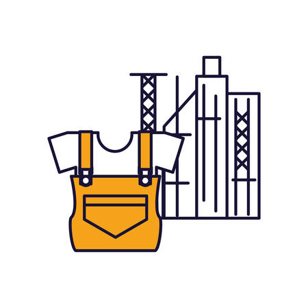 overall uniform construction with cityscape vector illustration design