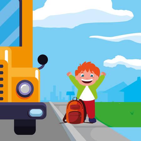 little schoolboy with schoolbag in the bus stop vector illustration design Ilustração Vetorial