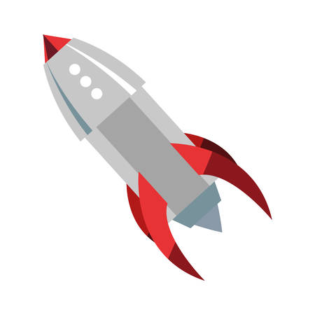 rocket spaceship exploration on white background vector illustration