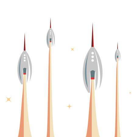 launching rocket spaceships mission vector illustration design