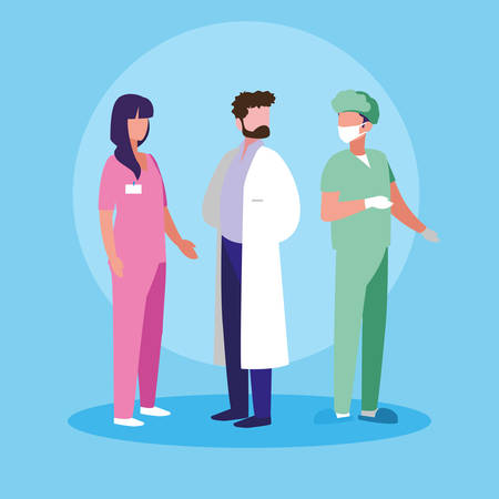 group of doctors and surgeon avatar character vector illustration design