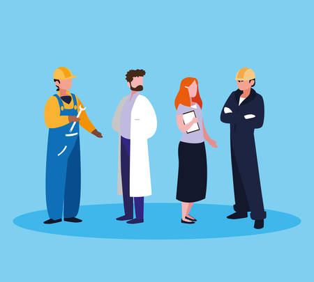 doctor with group of professionals vector illustration design