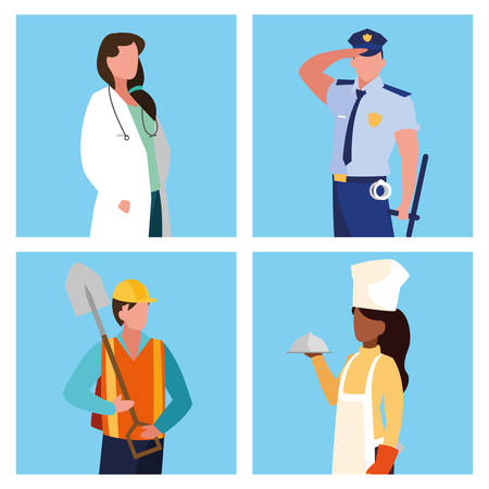 doctor female with group of professionals vector illustration design Çizim