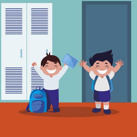 happy little schoolboys in the school corridor vector illustration design