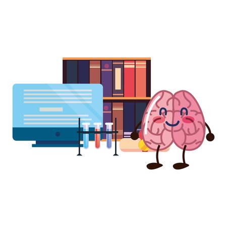 brain cartoon education computer books science vector illustration
