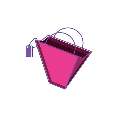 shopping bag with tag commercial vector illustration design