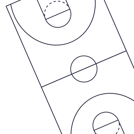 basketball sport court floor outline vector illustration