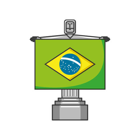 corcovado christ monument with flag of brazil vector illustration design