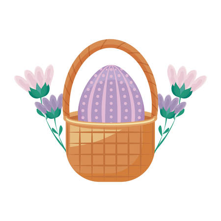egg of easter in basket wicker with flowers vector illustration design