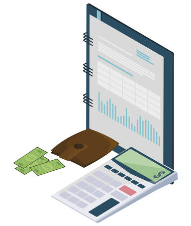 calculator math with notepad vector illustration design