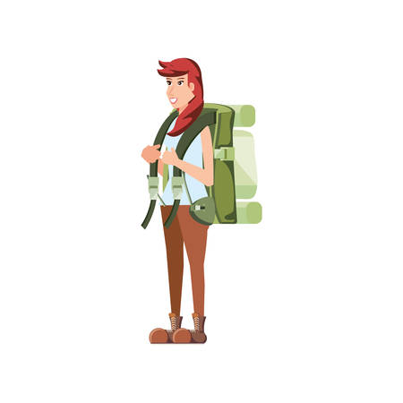 traveler woman with travel bag avatar character vector illustration design Stock Illustratie