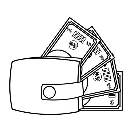 wallet with bills dollars vector illustration design