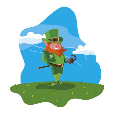 saint patrick lemprechaun with cane in the field vector illustration design Banque d'images - 123779623