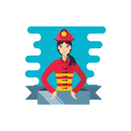 firefighter professional female with ribbon character vector illustration design