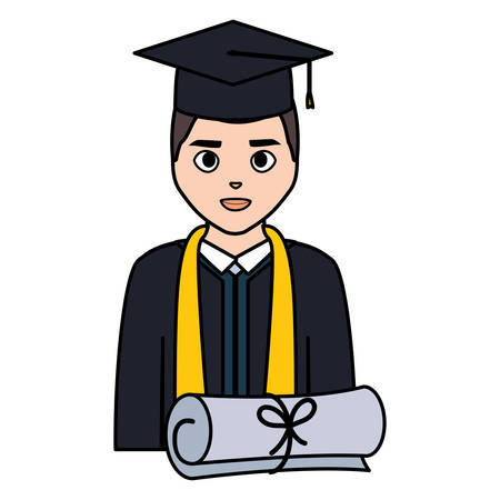 young student graduated with diploma character vector illustration design