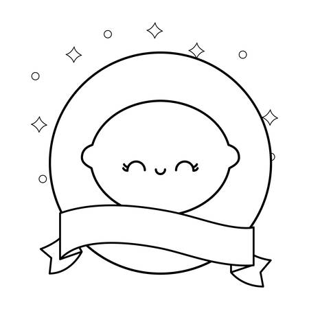 fresh orange with ribbon kawaii character vector illustration design