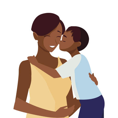 beautiful black mother with little son characters vector illustration design Vektorové ilustrace
