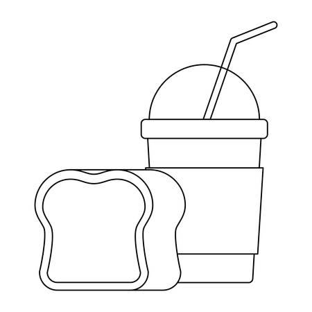 delicious milkshake with bread isolated icon vector illustration design